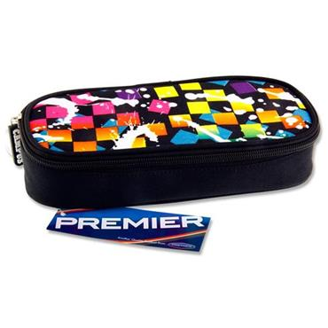Premier Oval Pencil Case - Blue Squares