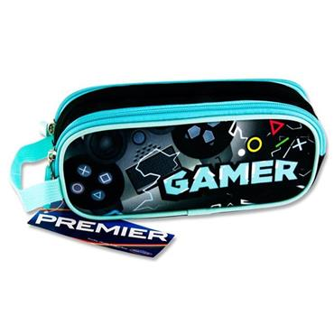 Premier Oval 2 Pocket Pencil Case - Gamer