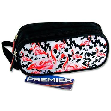 Premier Oval 2 Pocket Pencil Case - Flamingos