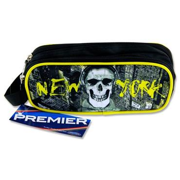Premier Oval 2 Pocket Pencil Case - New York Skull