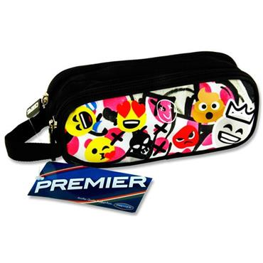 Premier Oval 2 Pocket Pencil Case - Emoji's