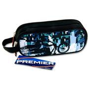 Premier Oval 2 Pocket Pencil Case - Biking