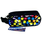 Premier Oval 2 Pocket Pencil Case - Blue Squares
