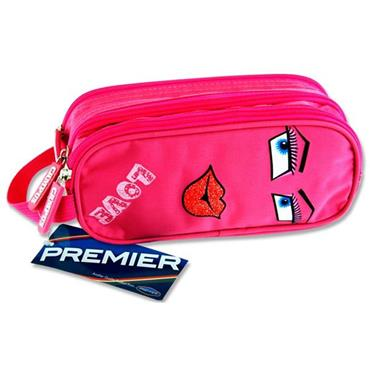 Premier Oval 3 Pocket Pencil Case - Love