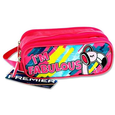 Premier Oval 3 Pocket Pencil Case - I'm Fabulous Flamingo