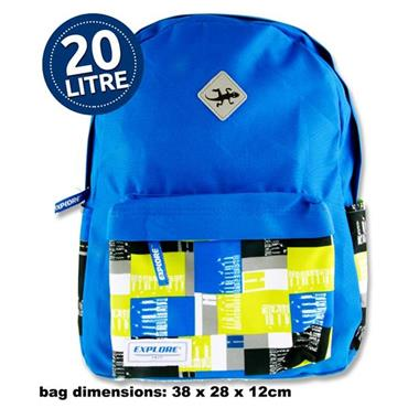 Explore 20ltr Backpack - Green & Blue Squares