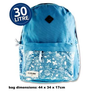 Explore 30ltr Backpack - Blue Floral Hoop