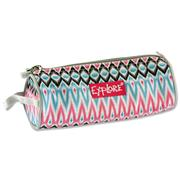 EXPLORE ROUND PENCIL CASE - LIGHT BLUE WITH PINK ETHNIC