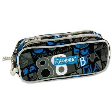 EXPLORE TWIN ZIP PENCIL CASE - LETTERS WITH BLUE