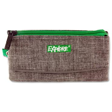 EXPLORE 3 POCKET PENCIL CASE - GREY & GREEN
