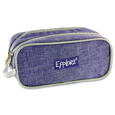 EXPLORE TWIN ZIP PENCIL CASE - PURPLE