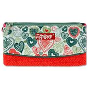 EXPLORE 3 POCKET PENCIL CASE - HEARTS PINK & GREY