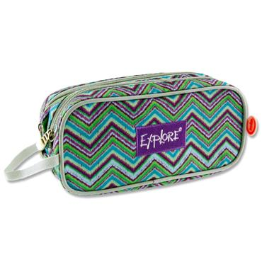 EXPLORE TWIN ZIP PENCIL CASE - ZIG ZAG PURPLE & BLUE