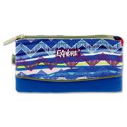 EXPLORE 3 POCKET PENCIL CASE - ETHNIC ZIG ZAG BLUE