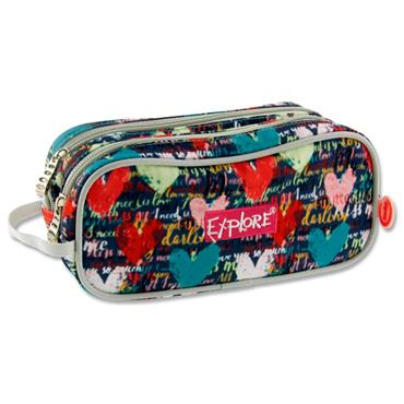 EXPLORE TWIN ZIP PENCIL CASE - COLORFUL HEARTS