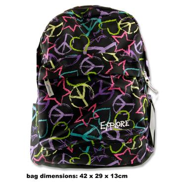 EXPLORE RALLY 25ltr BACKPACK - PEACE BLACK BACKGROUND