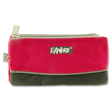 EXPLORE 3 POCKET PENCIL CASE - PINK & GREY