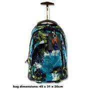 Explore Trolley Backpack - Blue With Green Splash