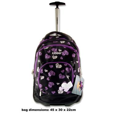 EXPLORE TROLLEY BACKPACK - PURPLE & WHITE HEARTS IN BLACK